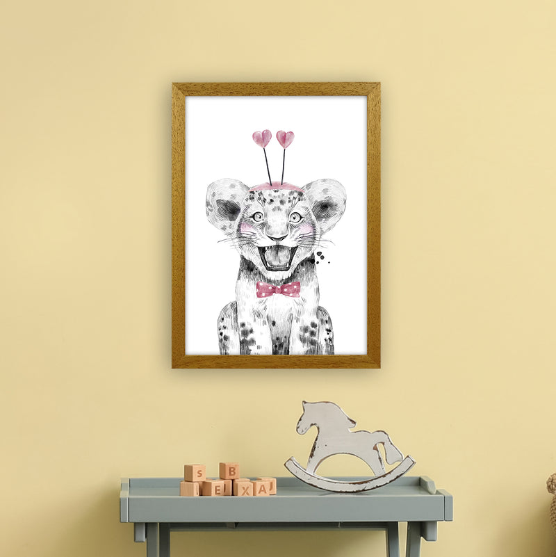 Safari Babies Tiger With Heart Hat  Art Print by Pixy Paper A3 Print Only