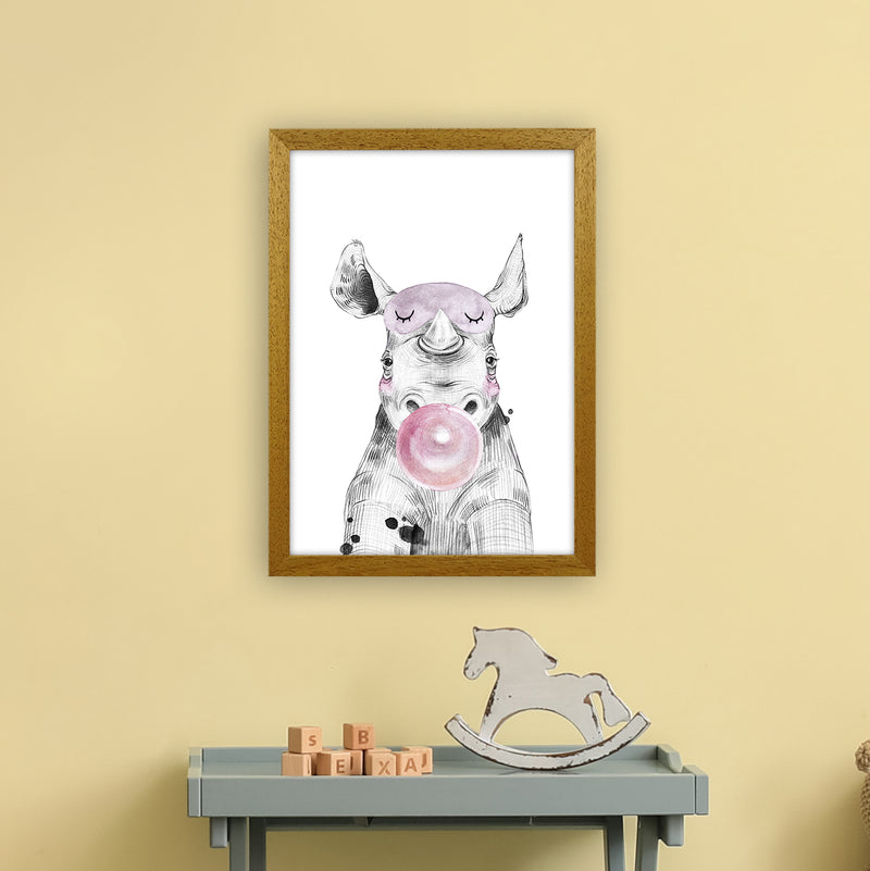 Safari Babies Rhino With Bubble  Art Print by Pixy Paper A3 Print Only