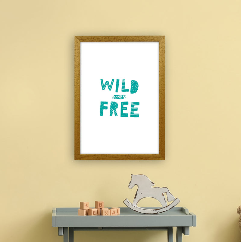 Wild And Free Teal Super Scandi  Art Print by Pixy Paper A3 Print Only