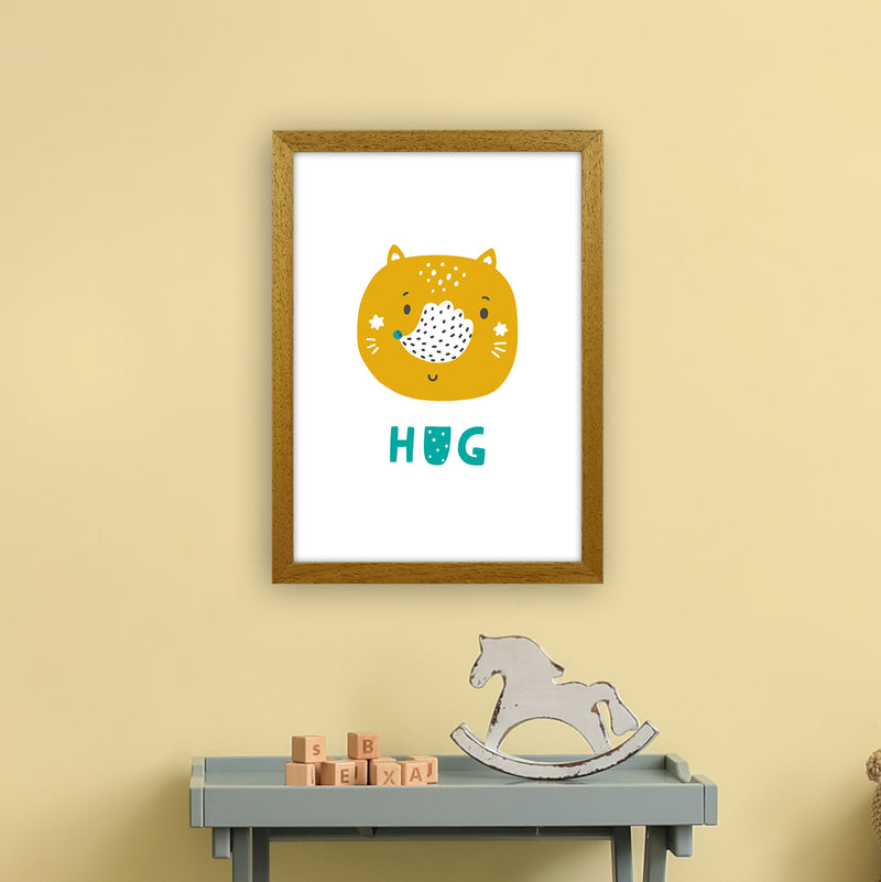 Fox Hug Teal Super Scandi  Art Print by Pixy Paper A3 Print Only