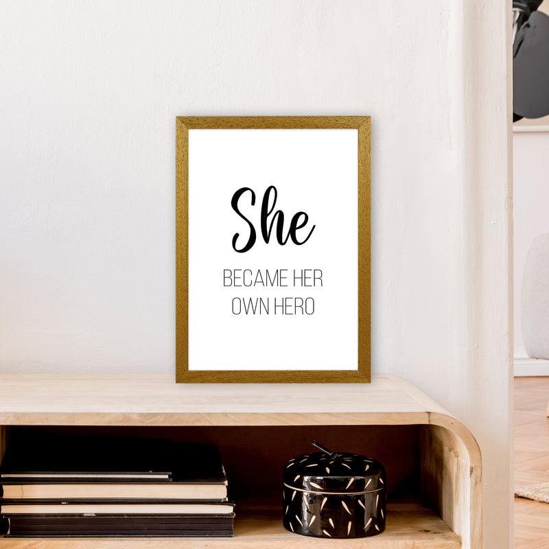 She Became Her Own Hero  Art Print by Pixy Paper A3 Print Only