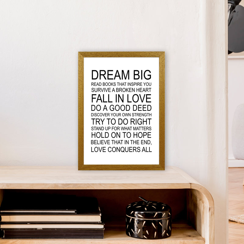 Dream Big Inspirational  Art Print by Pixy Paper A3 Print Only