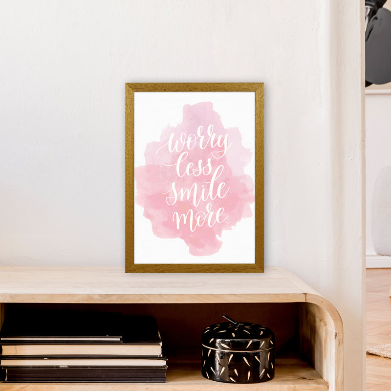 Worry Less Smile More  Art Print by Pixy Paper A3 Print Only