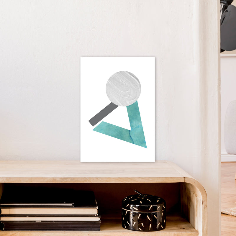 Marble Teal And Silver 3 Art Print by Pixy Paper A3 Black Frame