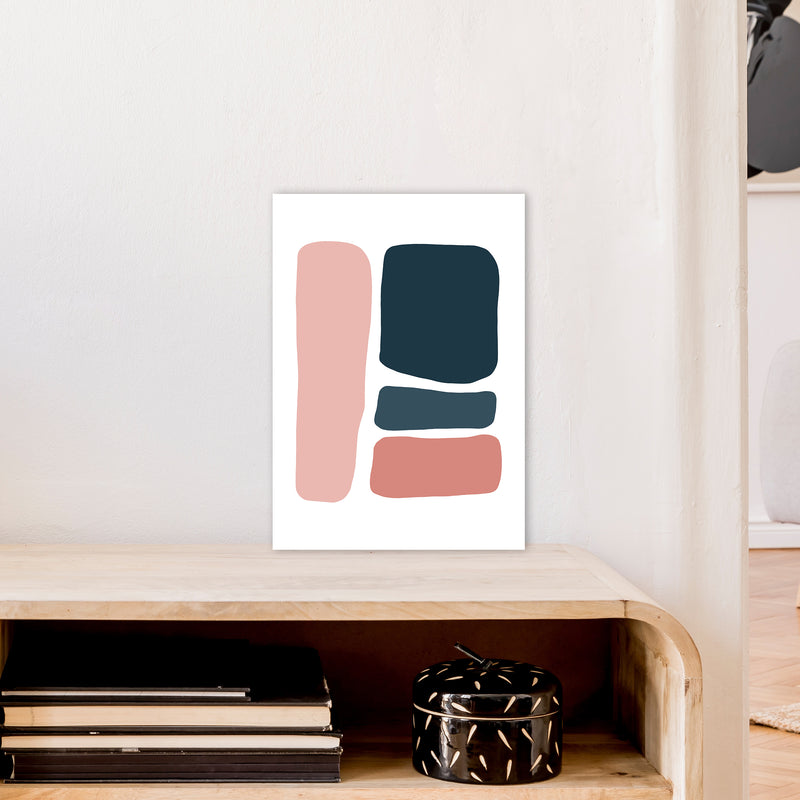 Pink And Navy Abstract Stones 3 Art Print by Pixy Paper A3 Black Frame