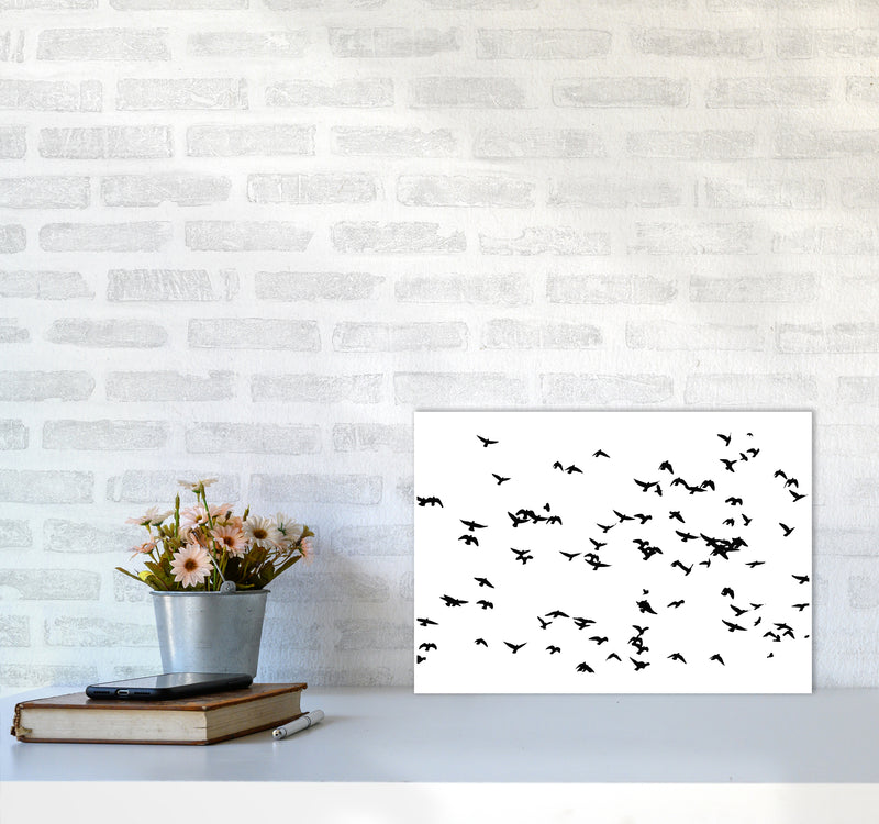 Flock Of Birds Landscape Art Print by Pixy Paper A3 Black Frame