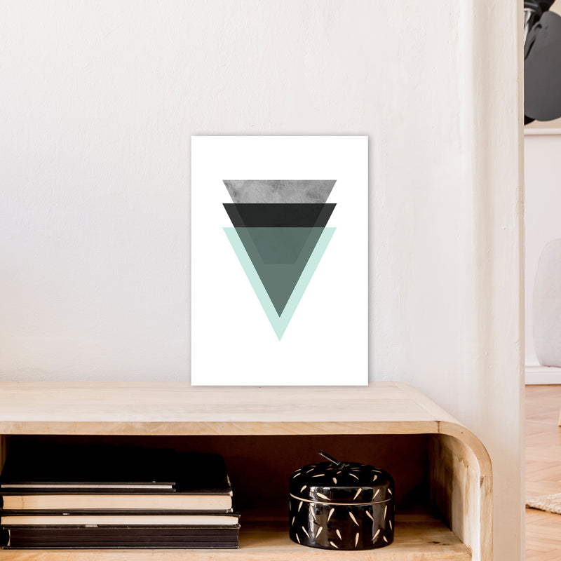 Geometric Mint And Black Triangles  Art Print by Pixy Paper A3 Black Frame