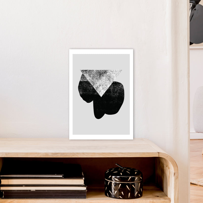 Graffiti Black And Grey Triangle  Art Print by Pixy Paper A3 Black Frame