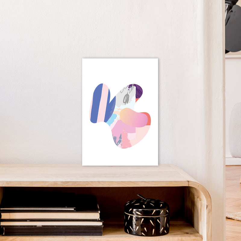 Pink Butterfly Abstract Shape  Art Print by Pixy Paper A3 Black Frame