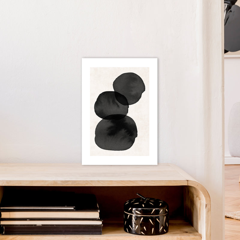 Nude And Pearl Stacked Stones  Art Print by Pixy Paper A3 Black Frame