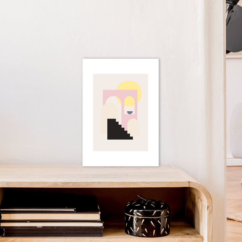 Mila Pink Stairs To Sun N6  Art Print by Pixy Paper A3 Black Frame