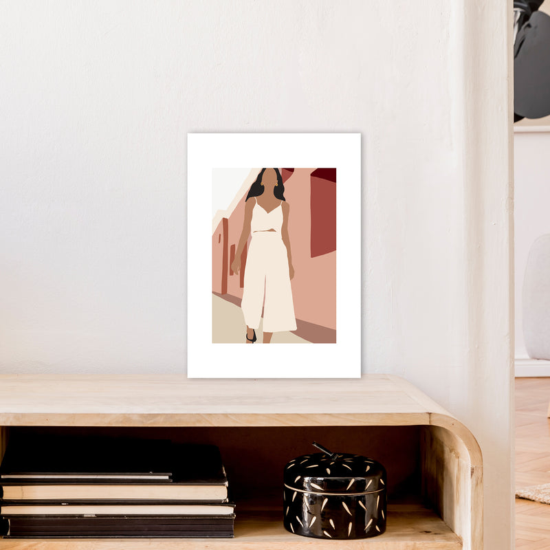 Mica Girl In Street N7  Art Print by Pixy Paper A3 Black Frame