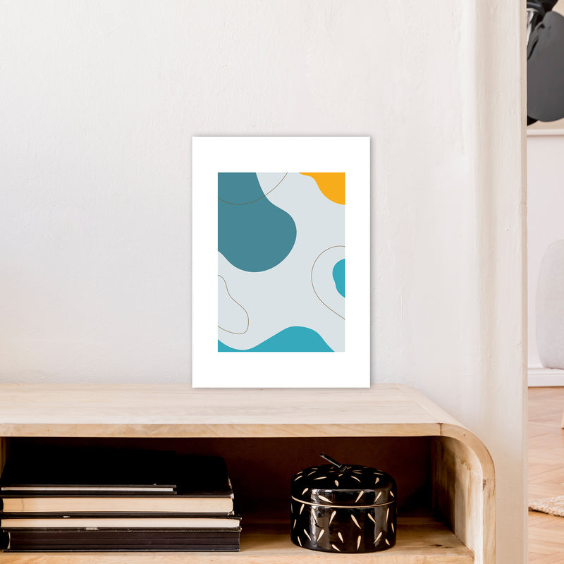 Mita Teal Abstract N16  Art Print by Pixy Paper A3 Black Frame
