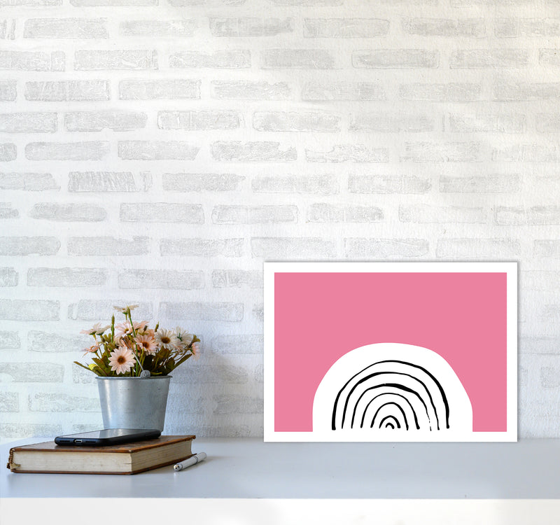 Pink Rainbow Neon Funk  Art Print by Pixy Paper A3 Black Frame