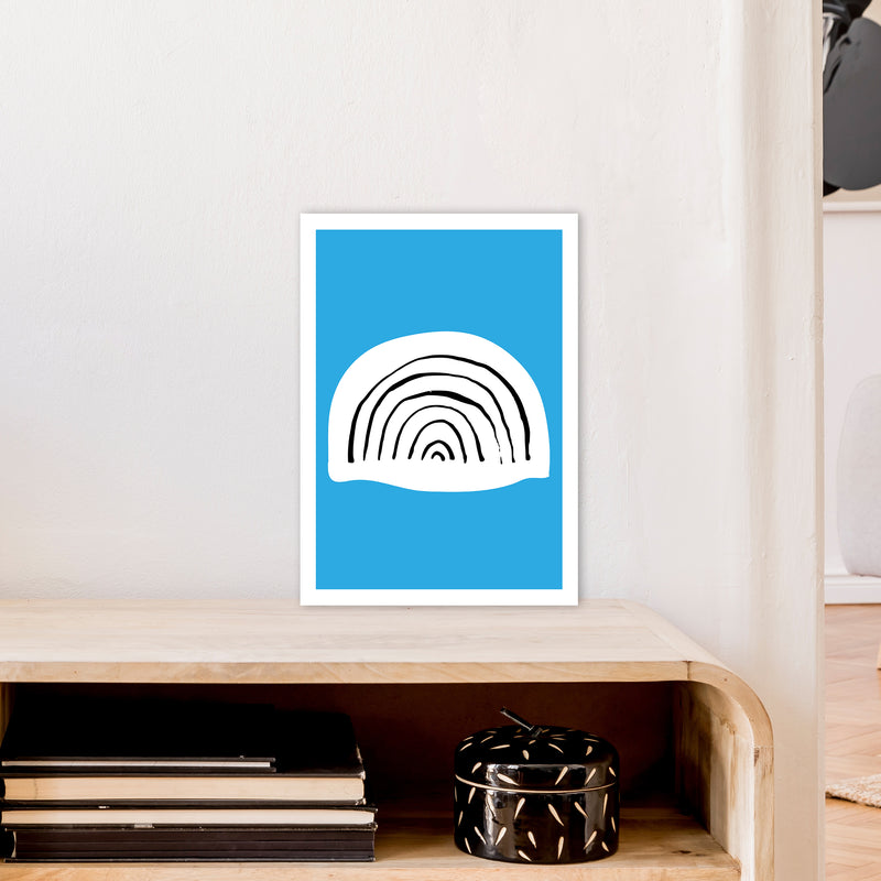 Blue Rainbow Neon Funk  Art Print by Pixy Paper A3 Black Frame
