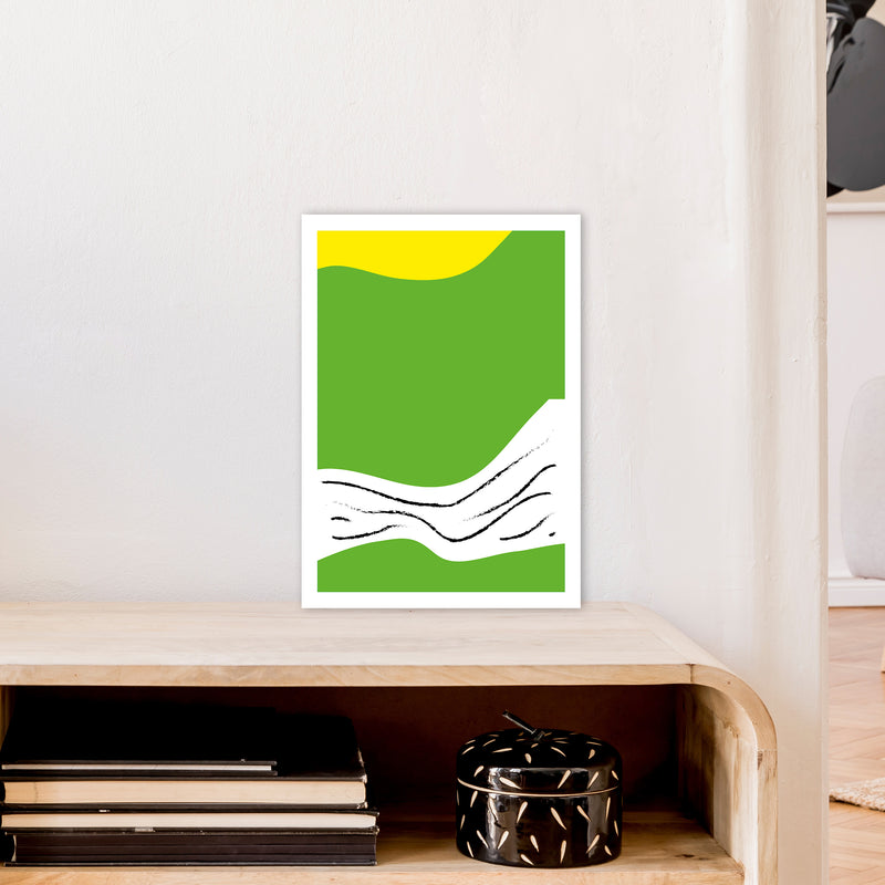 Green Lines Neon Funk  Art Print by Pixy Paper A3 Black Frame