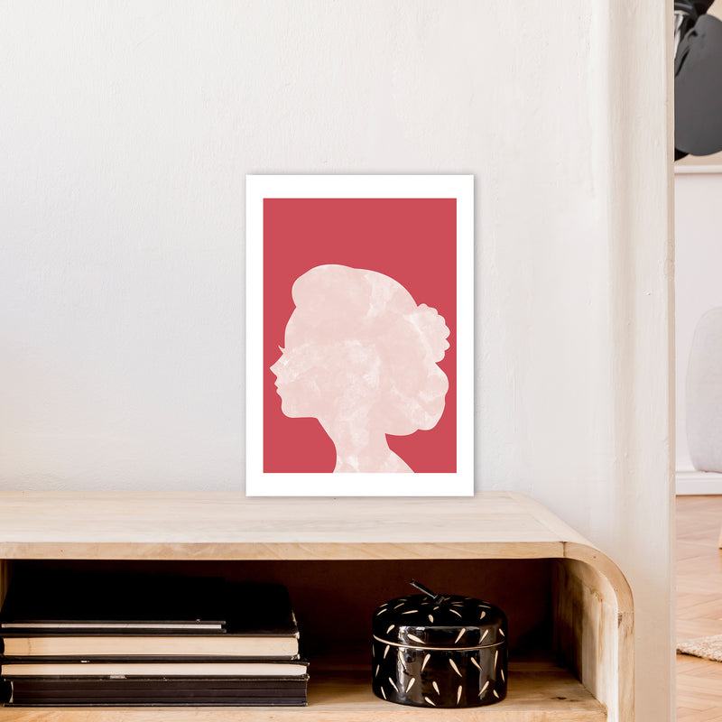 Marble Head Red  Art Print by Pixy Paper A3 Black Frame