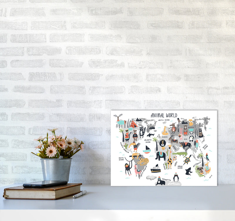 Animal World Map  Art Print by Pixy Paper A3 Black Frame