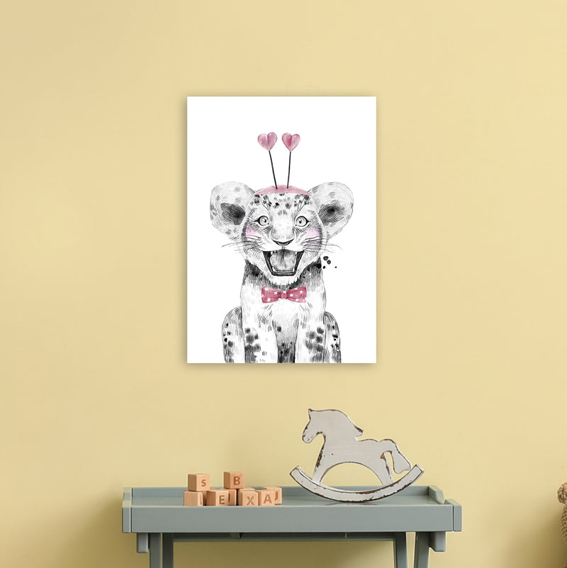 Safari Babies Tiger With Heart Hat  Art Print by Pixy Paper A3 Black Frame