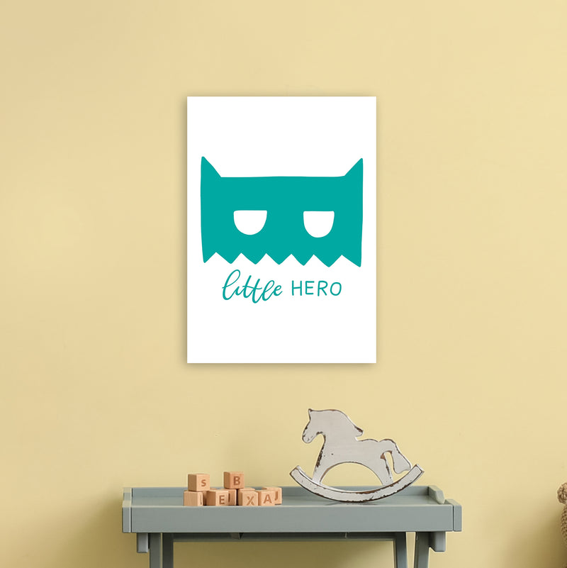 Little Hero Mask Teal Super Scandi  Art Print by Pixy Paper A3 Black Frame