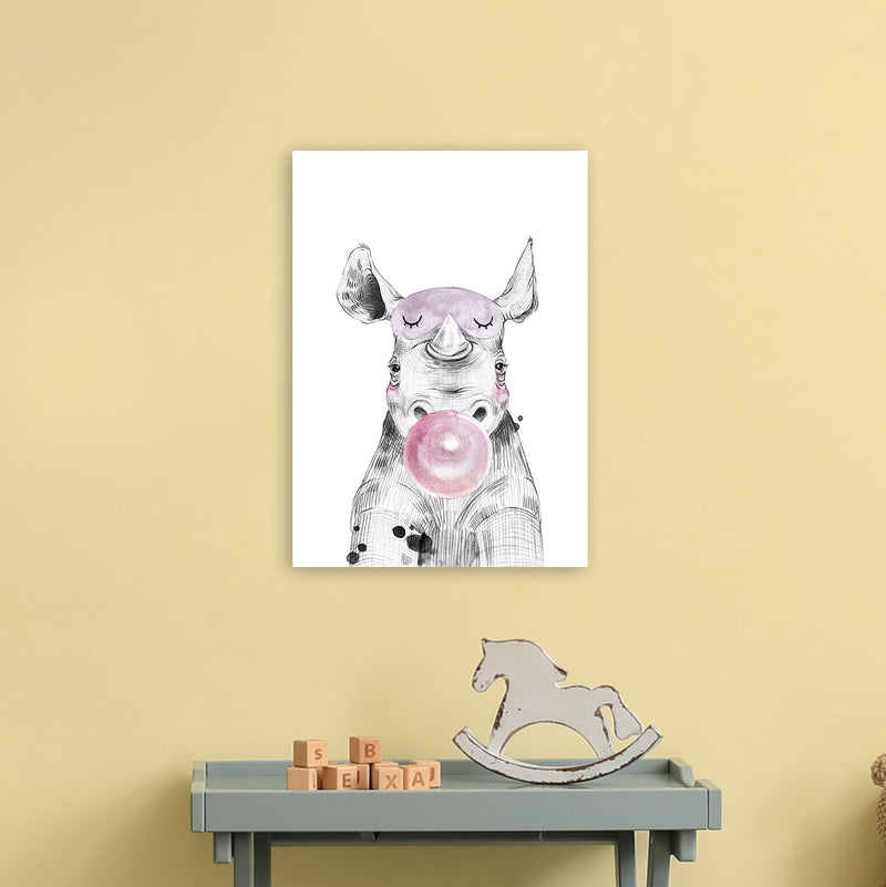 Safari Babies Rhino With Bubble  Art Print by Pixy Paper A3 Black Frame