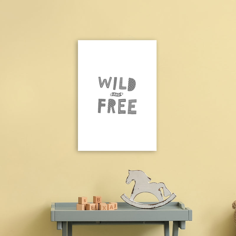 Wild And Free Grey Super Scandi  Art Print by Pixy Paper A3 Black Frame