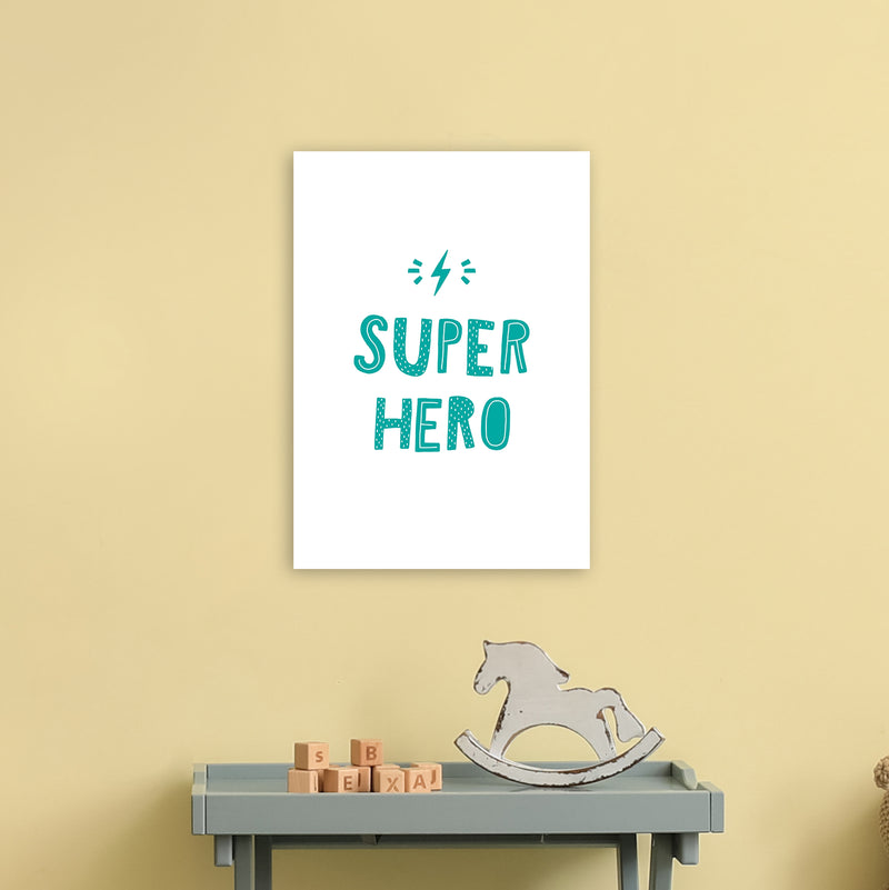 Super Hero Teal Super Scandi  Art Print by Pixy Paper A3 Black Frame