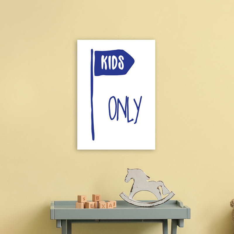 Kids Only Navy  Art Print by Pixy Paper A3 Black Frame