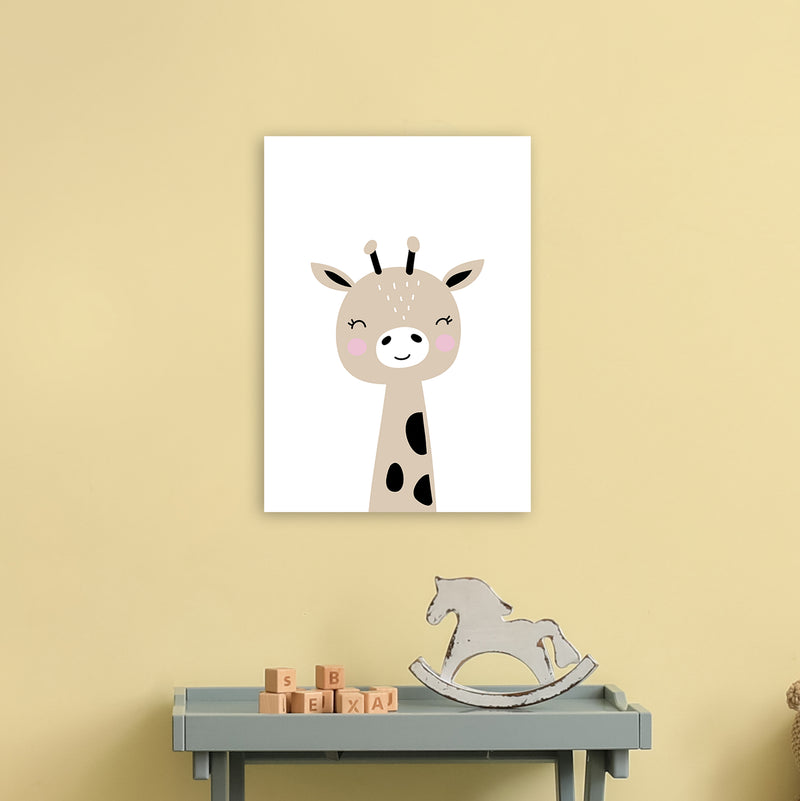 Giraffe Brown  Art Print by Pixy Paper A3 Black Frame