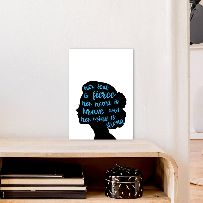 Her Soul Is Fierce Blue  Art Print by Pixy Paper A3 Black Frame