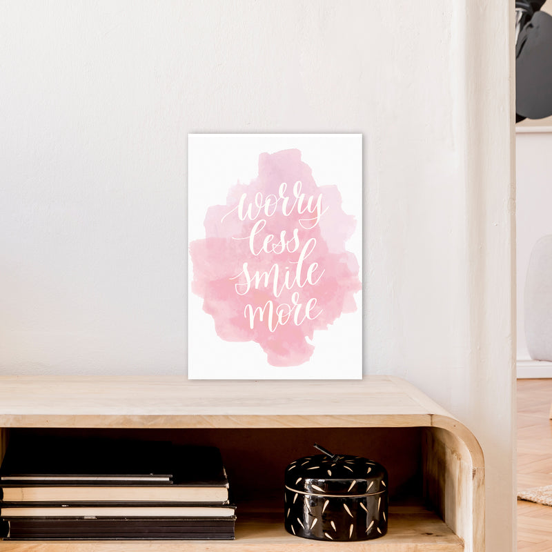 Worry Less Smile More  Art Print by Pixy Paper A3 Black Frame