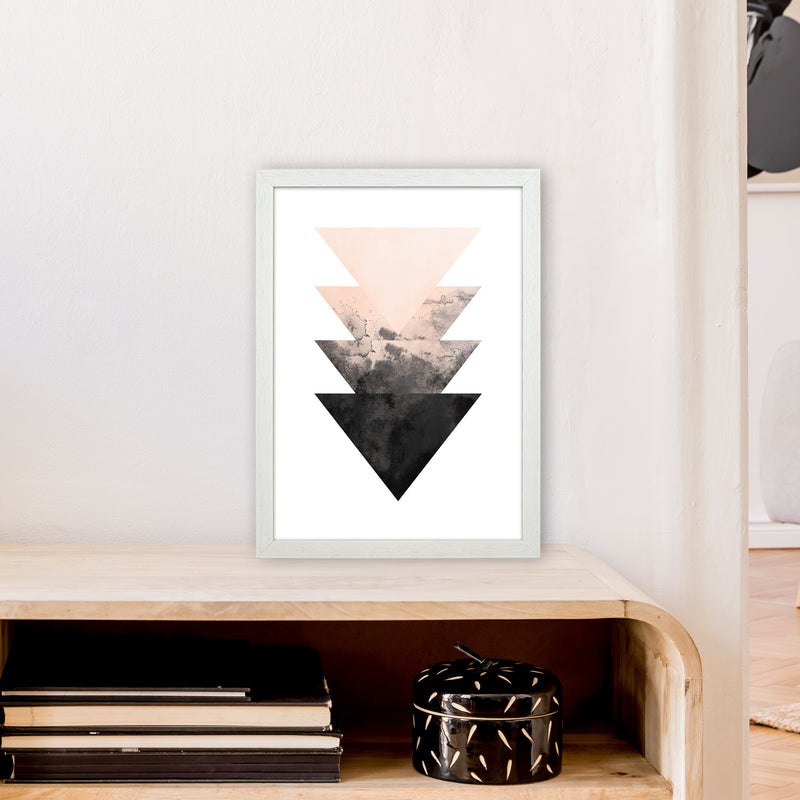 Nude And Black Watercolour 4 Art Print by Pixy Paper A3 Oak Frame