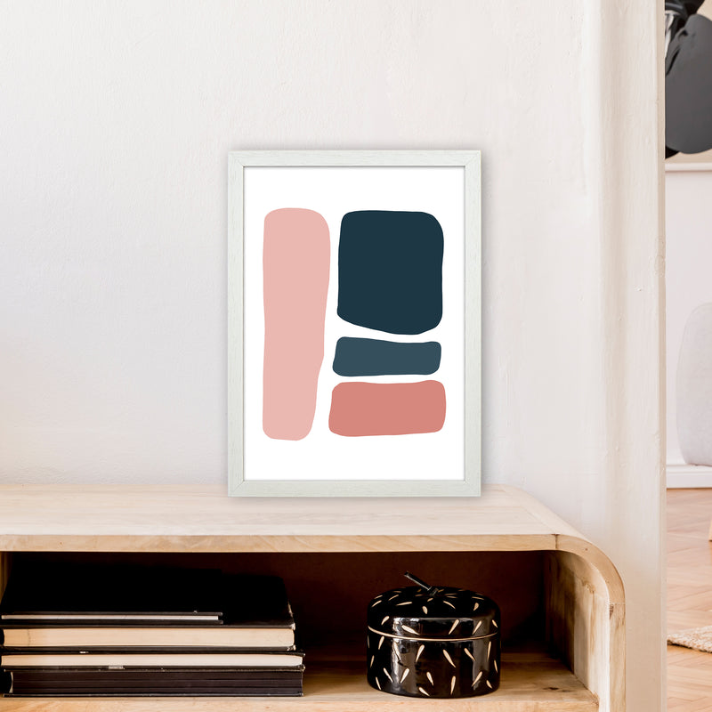 Pink And Navy Abstract Stones 3 Art Print by Pixy Paper A3 Oak Frame