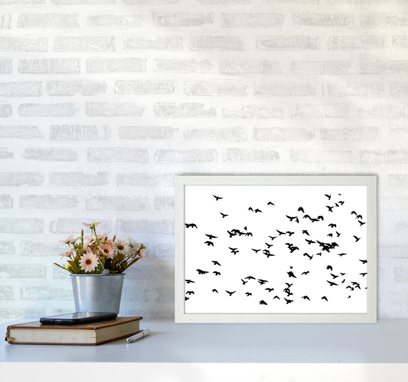 Flock Of Birds Landscape Art Print by Pixy Paper A3 Oak Frame