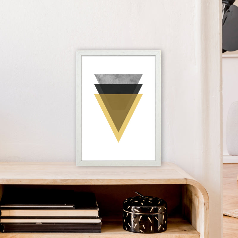 Geometric Mustard And Black Triangles  Art Print by Pixy Paper A3 Oak Frame