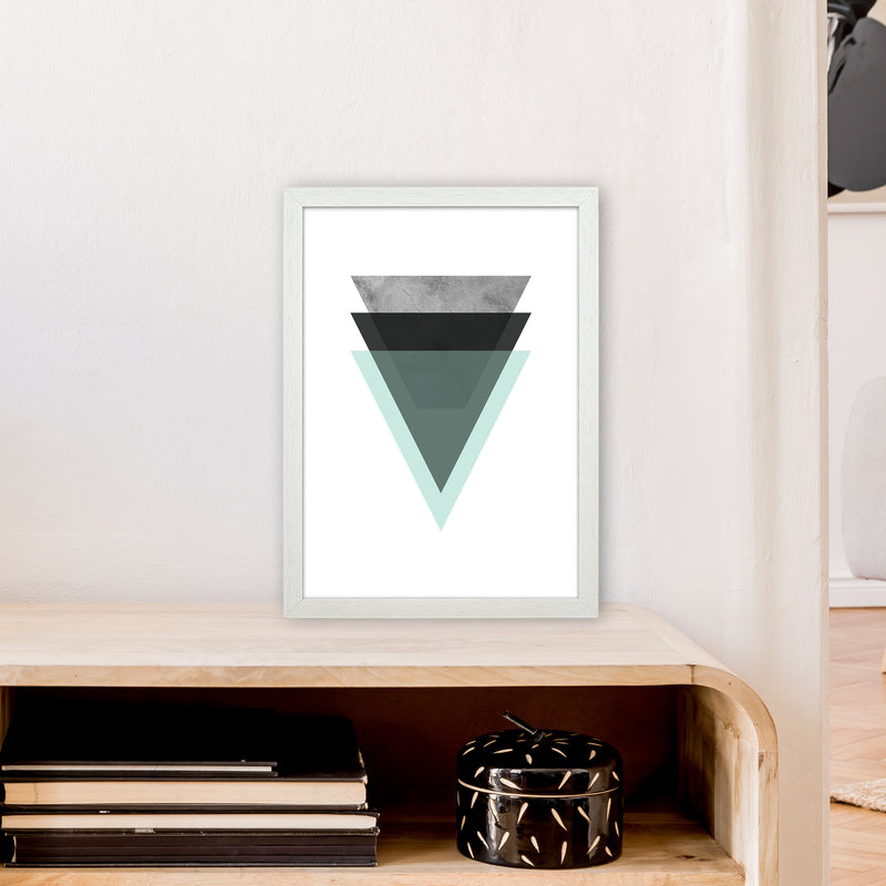 Geometric Mint And Black Triangles  Art Print by Pixy Paper A3 Oak Frame