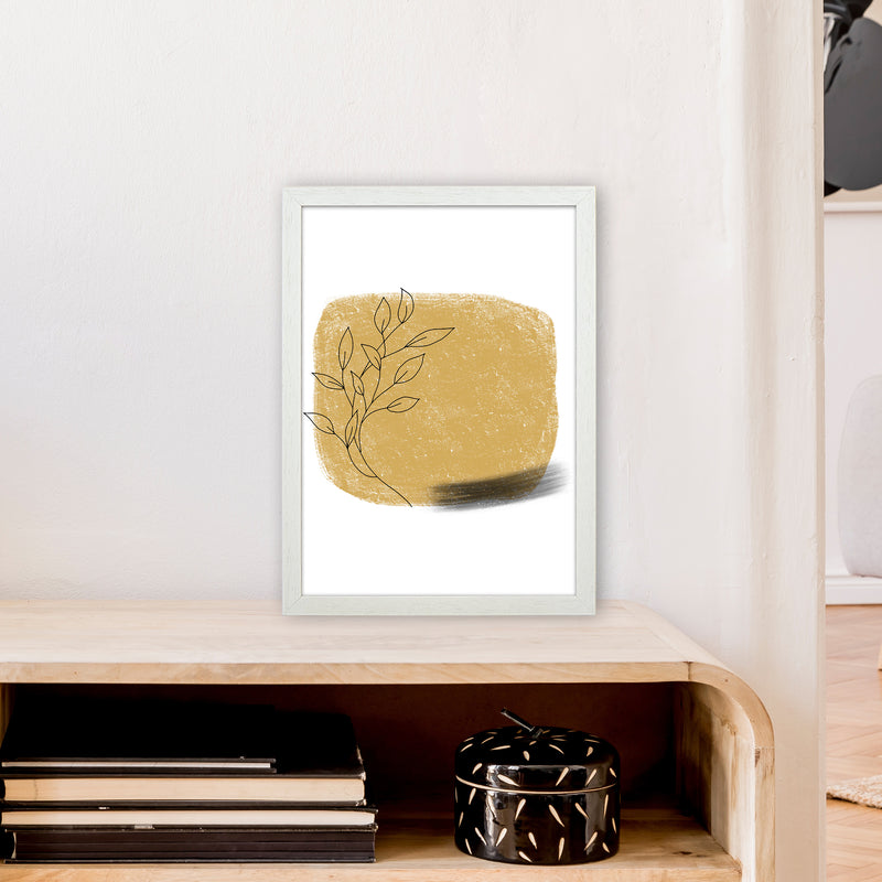 Dalia Chalk Gold Floral Square  Art Print by Pixy Paper A3 Oak Frame