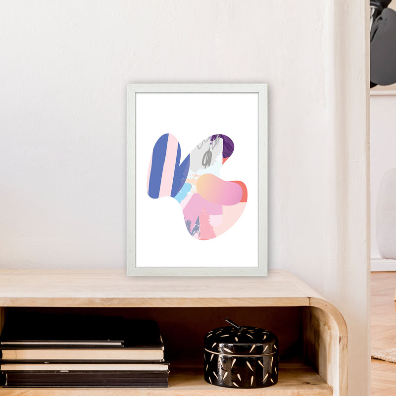 Pink Butterfly Abstract Shape  Art Print by Pixy Paper A3 Oak Frame