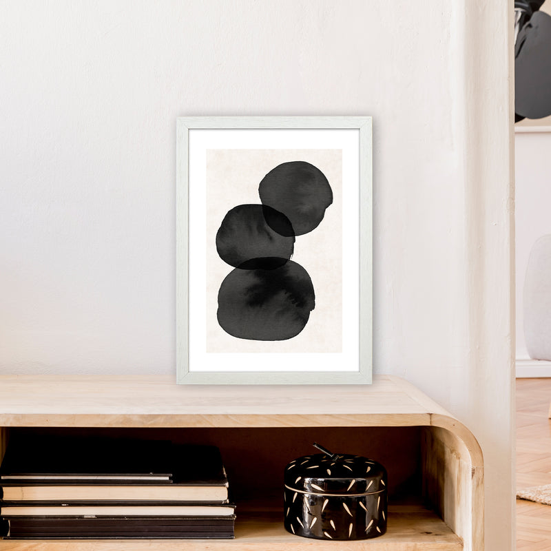 Nude And Pearl Stacked Stones  Art Print by Pixy Paper A3 Oak Frame