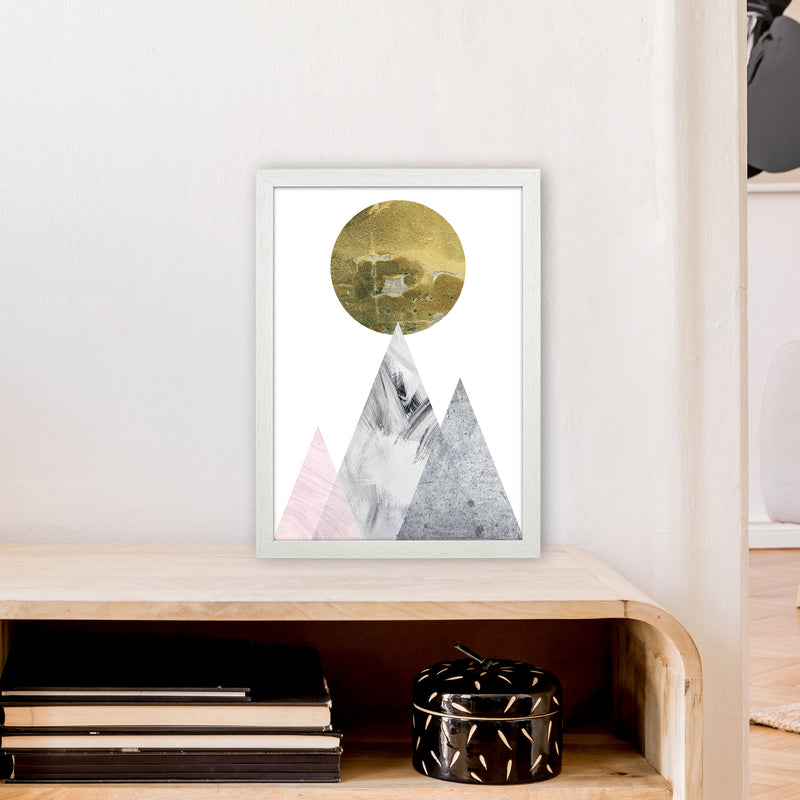 Luna Gold Moon And Mountains  Art Print by Pixy Paper A3 Oak Frame