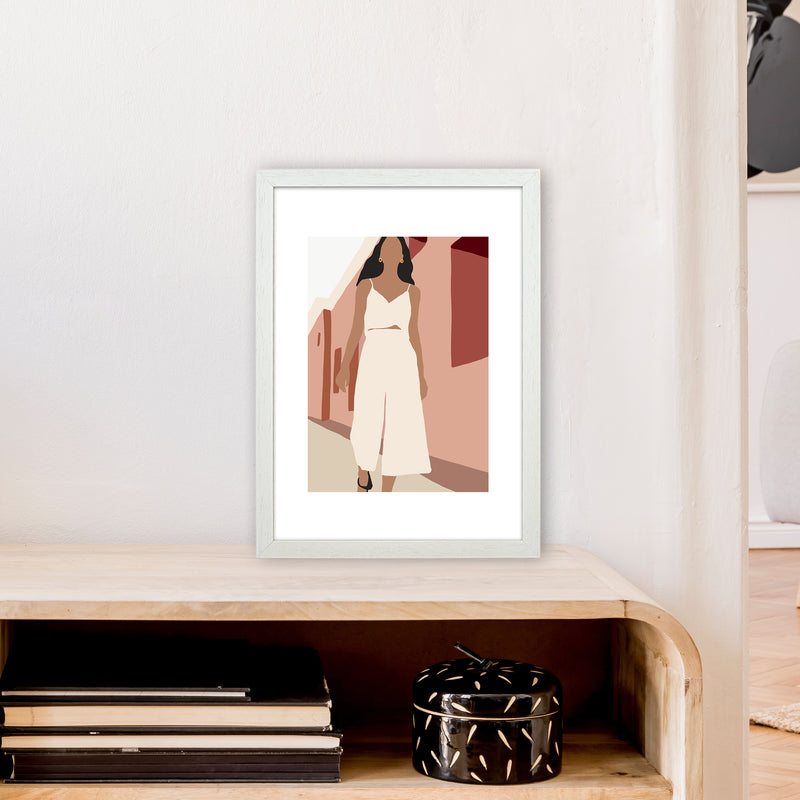 Mica Girl In Street N7  Art Print by Pixy Paper A3 Oak Frame