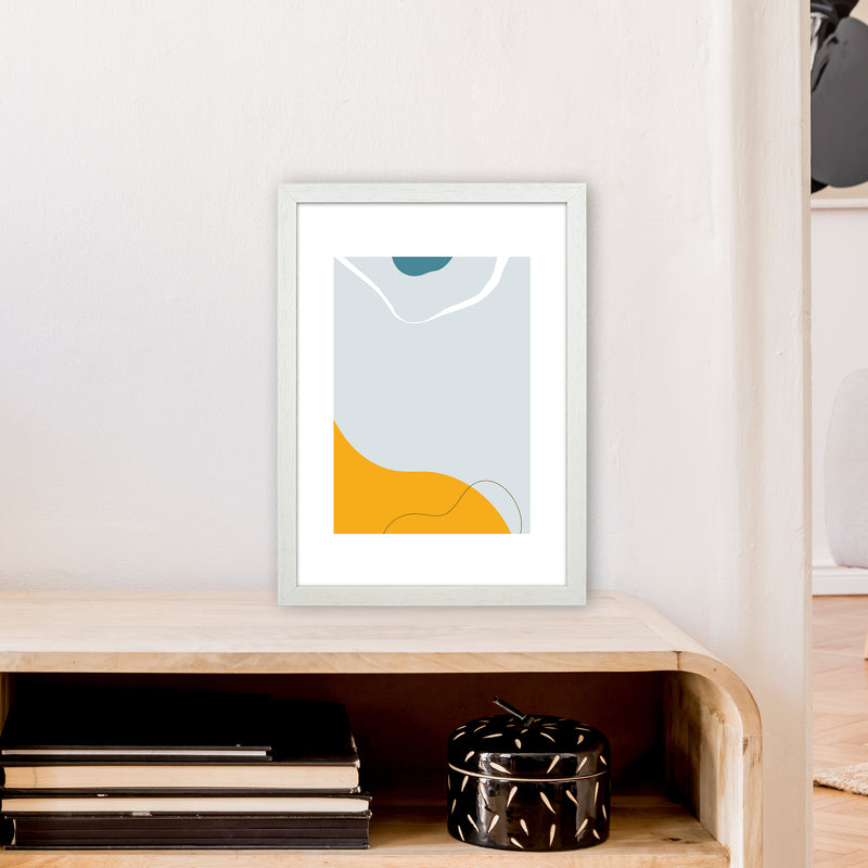 Mita Teal Abstract N21  Art Print by Pixy Paper A3 Oak Frame