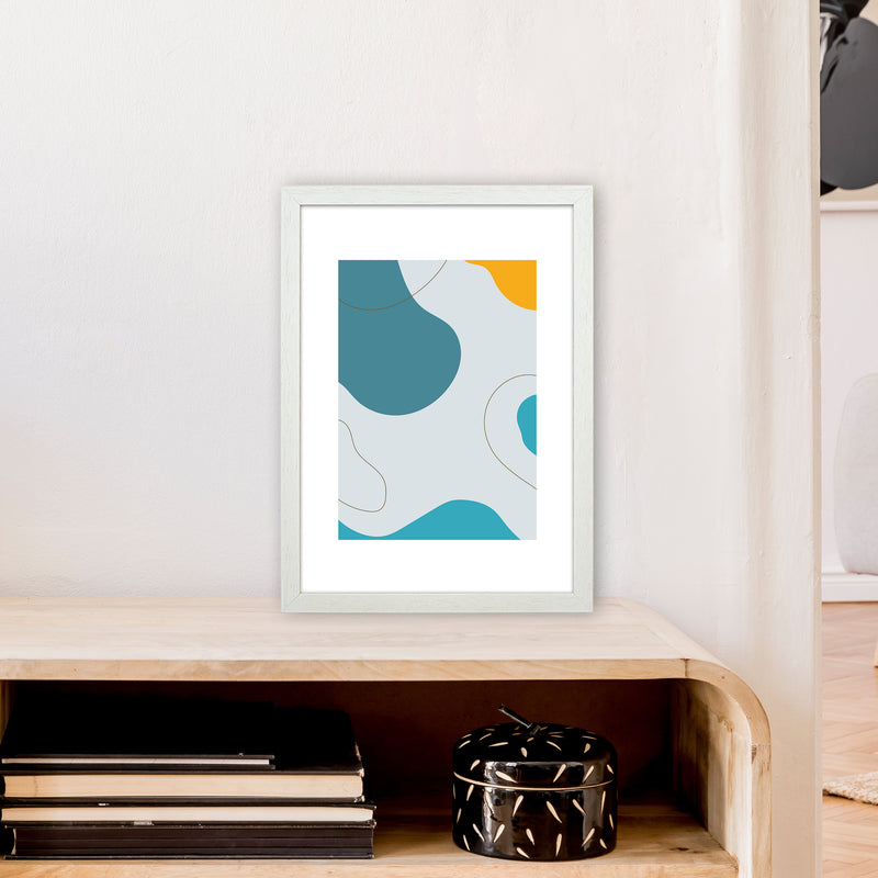 Mita Teal Abstract N16  Art Print by Pixy Paper A3 Oak Frame