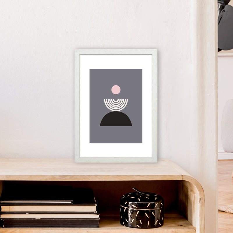 Mila Pink Fountain N9  Art Print by Pixy Paper A3 Oak Frame