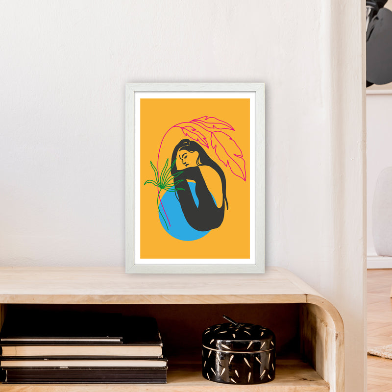 Girl Under Plant Yellow Neon Funk  Art Print by Pixy Paper A3 Oak Frame
