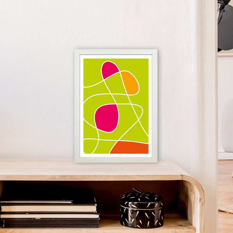 Lime Mess Neon Funk  Art Print by Pixy Paper A3 Oak Frame