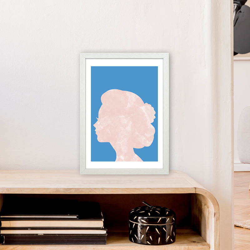 Marble Head Blue  Art Print by Pixy Paper A3 Oak Frame