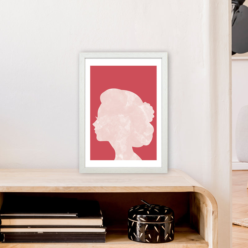 Marble Head Red  Art Print by Pixy Paper A3 Oak Frame