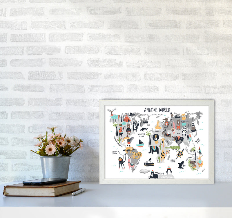 Animal World Map  Art Print by Pixy Paper A3 Oak Frame
