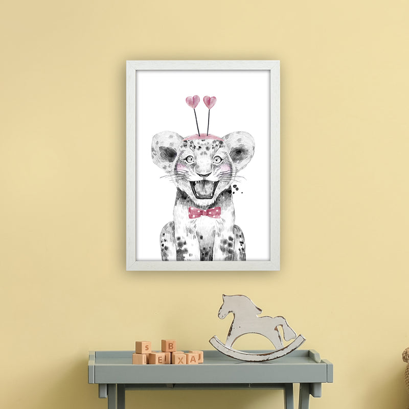 Safari Babies Tiger With Heart Hat  Art Print by Pixy Paper A3 Oak Frame